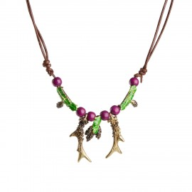 Fir tree branches and roe deer horns necklace